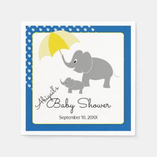 Elephant & Baby, Umbrella, Blue Baby Shower Paper Napkin