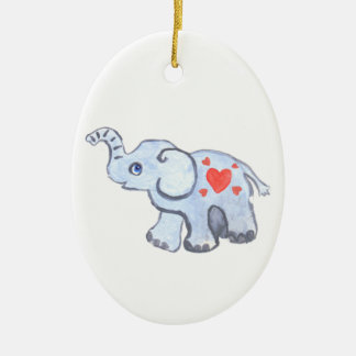 elephant baby with hearts ceramic oval decoration