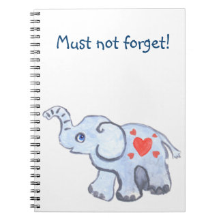 elephant baby with hearts, cute little spiral note book