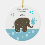 Elephant Baby's First Christmas Round Ceramic Decoration
