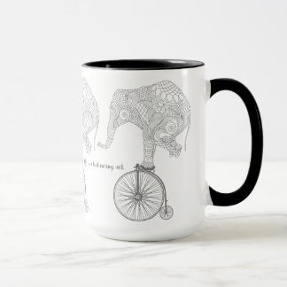 Elephant Balance Black 15 oz Ringer Mug