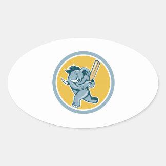 Elephant Batting Cricket Bat Cartoon Oval Sticker