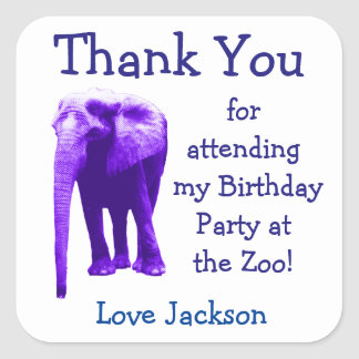 Elephant Birthday Party Favor Stickers