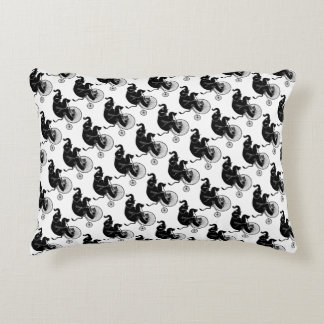 Elephant Black Silhouette Riding a Bike Decorative Cushion