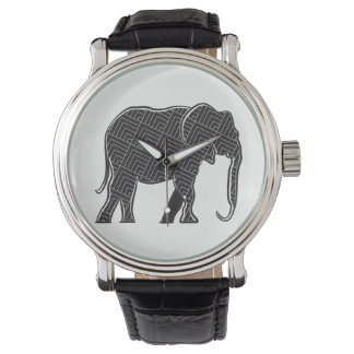 Elephant Black Stylish Pattern Silhouette Elegant Watch