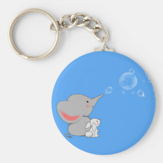 Elephant blowing bobbles basic round button key ring