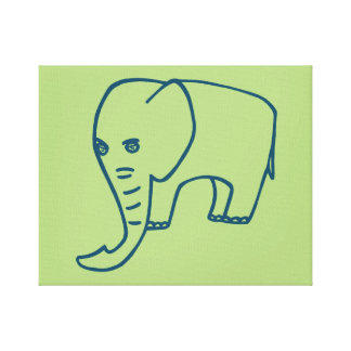 Elephant blue and olive canvas print