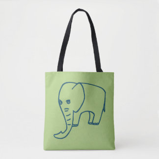 Elephant blue and olive tote bag