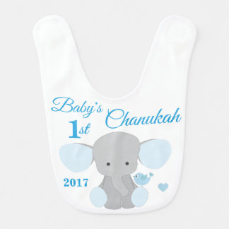 Elephant Blue Babys Boy First Chanukah Hanukkah Bib
