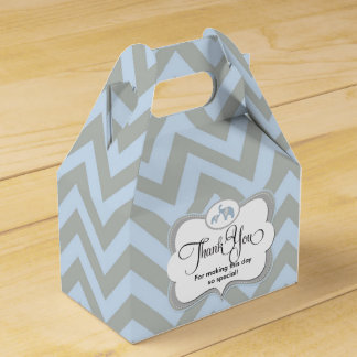 Elephant Blue Chevron Baby Gift Thank You Favor Party Favour Boxes