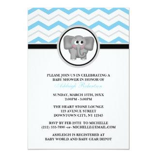 "Elephant Blue Gray Chevron Baby Shower Invitations 5"" X 7"" Invitation Card"