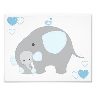 Elephant Blue Grey Gray Nursery Baby Boy Wall Art