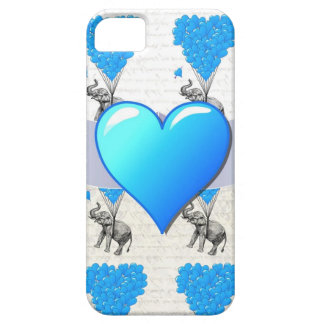 Elephant & blue heart balloons case for the iPhone 5