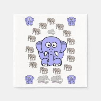 Elephant blue white napkin children's party paper serviettes