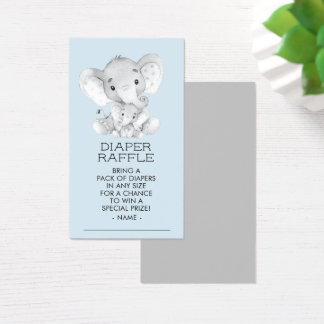 Elephant Boys Baby Shower Diaper Raffle Ticket