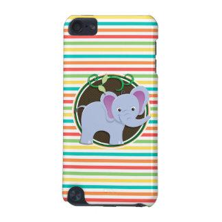 Elephant Bright Rainbow Stripes iPod Touch (5th Generation) Case