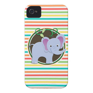 Elephant Bright Rainbow Stripes iPhone 4 Case