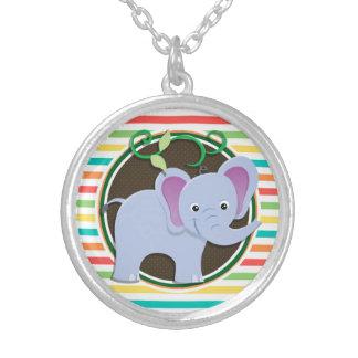 Elephant Bright Rainbow Stripes Necklaces