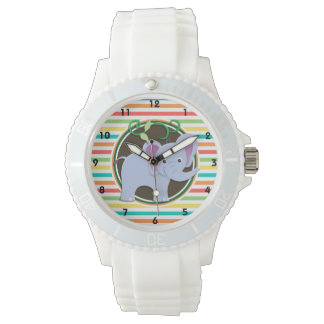Elephant; Bright Rainbow Stripes Wrist Watch