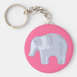 Elephant Bubble Basic Round Button Key Ring