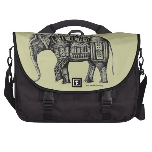 Elephant Building pen ink black and white drawing Computer Bag