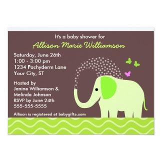Elephant & Butterflies Baby Shower 14 Cm X 19 Cm Invitation Card