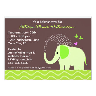 Elephant & Butterflies Baby Shower 5.5x7.5 Paper Invitation Card
