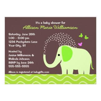 Elephant Butterflies Baby Shower Custom Invites