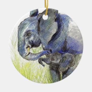 Elephant Calf and Mother, watercolor pencil Ceramic Ornament