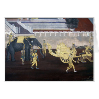 Elephant & Carriage Wall Painting Card