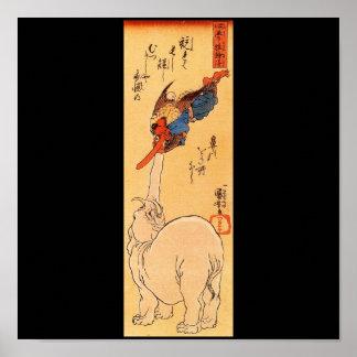 Elephant catching a flying Tengu. Circa 1800's Poster