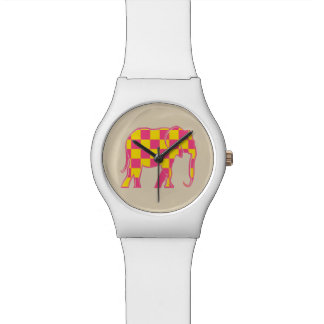 Elephant Checkered Pink Yellow Cool Silhouette Watch