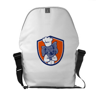 Elephant Chef Arms Crossed Crest Cartoon Courier Bag
