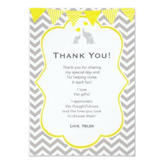 Elephant Chevron Yellow Baby Shower Thank You Card 13 Cm X 18 Cm Invitation Card