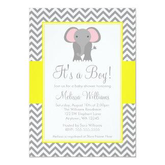 Elephant Chevron Yellow Gray Baby Shower 13 Cm X 18 Cm Invitation Card