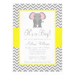 Elephant Chevron Yellow Grey Baby Shower Custom Invites