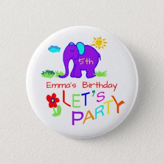 Elephant Child's Drawing Name & Age Birthday 6 Cm Round Badge