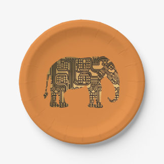 Elephant Circuit Board Paper Plate