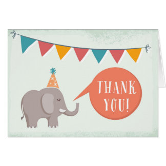 Elephant Circus Birthday Party Thank You Card