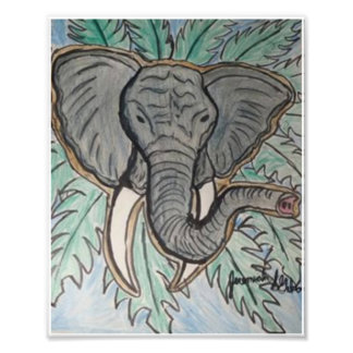 Elephant Color Pencil Drawing Photo