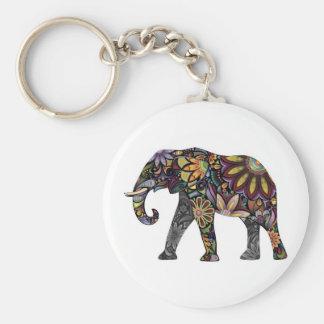 Elephant Colorful Basic Round Button Key Ring