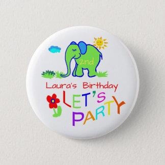 Elephant Colorful Cute Name & Age Birthday 6 Cm Round Badge