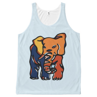 """Elephant Colorful"" Unisex Tanktop All-Over Print Singlet"