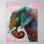 Elephant Colours Poster