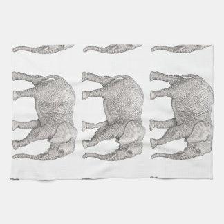 Elephant cut tea towel