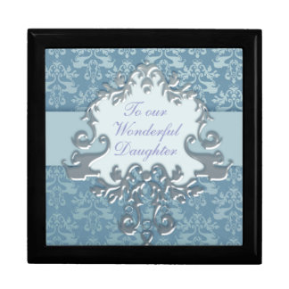 """Elephant damask """"daughter"""" gift box silver/blue"""