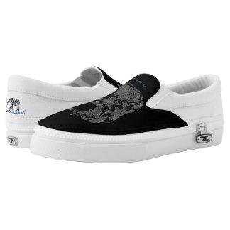Elephant damask zip slip on shoe printed shoes