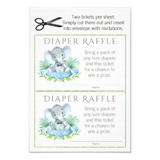 Elephant Diaper Raffle Tickets Card