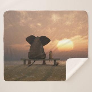 Elephant & Dog Friend Medium Sherpa Fleece Blanket