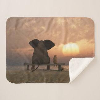 Elephant & Dog Friends Small Sherpa Fleece Blanket